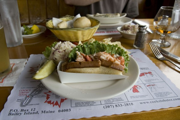A lobster roll from Cooks Lobster House on Bailey Island, Maine.