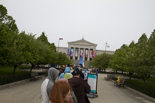 Standing in line to get into the Shedd Aquarium (it took us an hour and a half).